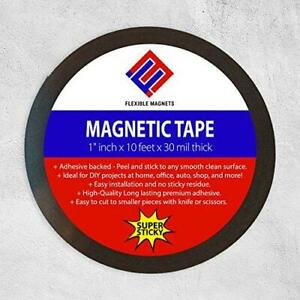Adhesive Magnetic Strip Flexible Magnet Tape 1 Wide X 10 Feet 30 Mil
