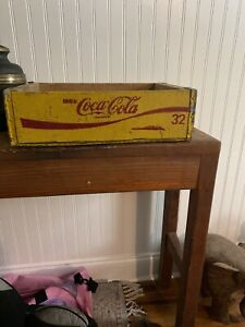 Vintage COCA- COLA Wooden Crate/ Carry Case - Yellow
