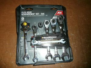 New Gearwrench Sae 5 Pc Flex Head Ratcheting Combination Wrenches For Ace Hdwe