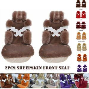 2pcs Genuine Australian Sheepskin Fur Long Soft Wool Car Front Seat Covers Warm