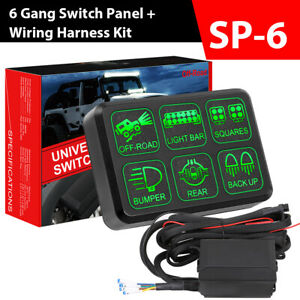 6 Gang On off Led Switch Control Panel Relay Control Box 12v Car Marine Boat Rv