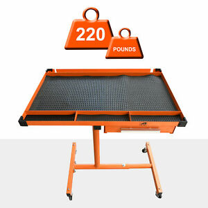 Us Stock Heavy Adjustable Work Table With Drawer 200lbs Capacity Rolling Tool
