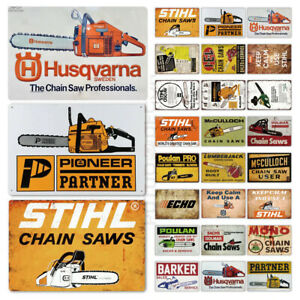 Chain Saws Brand Advertising Plaque Tin Sign Tools Man Cave Workshop Shop