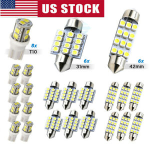 20x Combo Led Car Interior Inside Light Dome Map Door License Plate Lights A