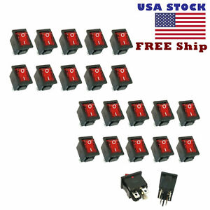 20 Pcs 4 Pin Dpst Illuminated Boat Car Rocker Switch Button Red Led Free Ship
