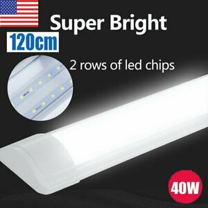 4pack 4ft 40w Batten Shop Light Utility Led Cool White For Office Garage 6500k