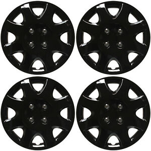 4 Piece Set Of 14 Ice Shiny Black Hub Caps Cover For Steel Wheel Covers Cap