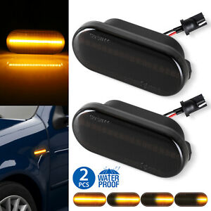 Smoke Dynamic Flowing Led Side Marker Signal Light For Vw Golf Mk4 Jetta Gti R32