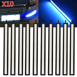 10pcs Blue Led Strip Drl Daytime Running Light Fog Cob Car Lamp Day Driving 12v