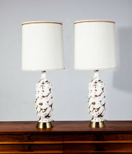 Mid Century Modern Lamp Set Ceramic White Speckled Pair Tall Table Vintage Light