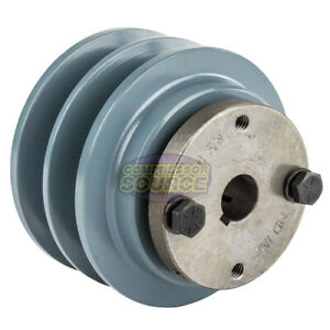 Cast Iron 3 35 2 Groove Dual Belt B Section 5l Pulley With 5 8 Sheave Bushing