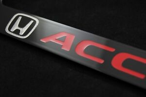 Honda Accord Black Red Lettering Metal License Plate Frame Holder newest Style