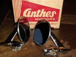 Authentic Vintage Pair Anthes Passenger Car Round Chrome Mirrors No 2200 Nos