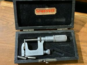 Starrett Anvil Micrometer Model 220 W case And Three Anvils As Shown