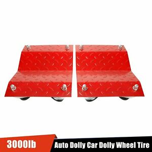 Set Of 2 Auto Dolly Car Dolly Wheel Tire 12 X16 Skate 3000lb Repair Slide Red