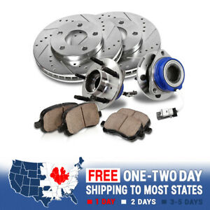 For Silverado Sierra Front Drill Slot Brake Rotors Ceramic Pads Hub Bearing