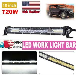 10 Inch 720w Led Work Light Bar Flood Spot Combo Offroad Lamp Car Truck Suv Atv