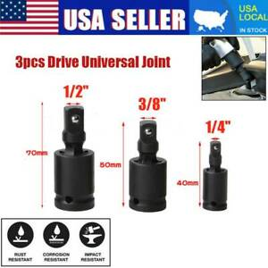 3 8 1 2 1 4 Universal Joint Swivel Wobble Socket Kit Impact Adapter Set Of 3