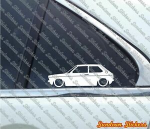 2x Lowered Car Outline Stickers For Volkswagen Polo Mk1 1975 1978 Classic Vw