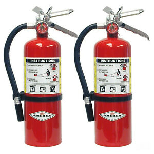 2 Pack Amerex B402 5 Lbs Dry Chemical Class A B C Fire Extinguisher W wall Mount