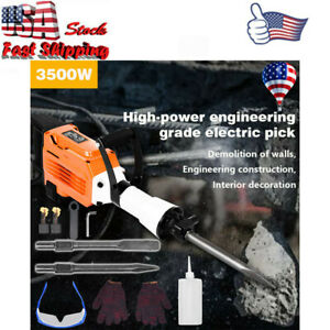 3500w Electric Demolition Jack Hammer Concrete Breaker Punch 2 Chisel 60j Bit