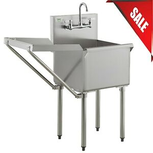 18 X 18 Drainboard Stainless Steel Commercial Utility Sink Mop Prep W Faucet