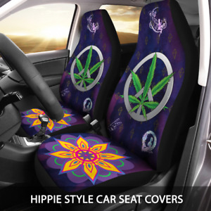 Hippie Style Car Seat Cover With Marijuana Peace Sign Universal Seat Protector