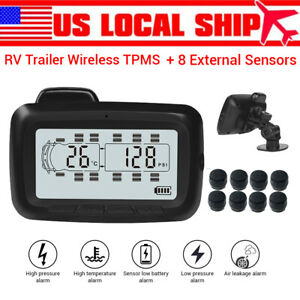 Lcd Tpms Tire Temperature Pressure Monitor System 8 Sensors Repeater For Rv Us