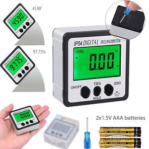 4 90 Magnetic Digital Protractor Angle Finder Bevel Level Box Inclinometer Us