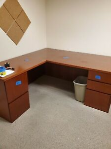 64 Inch Long Brown Wooden L shaped Desk With 5 Drawers Pick Up Only