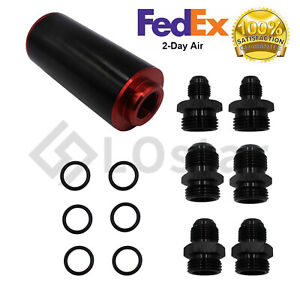 Black Red Inline Fuel Filter High Flow 100 Micron Cleanable Ss An6 An8 An10