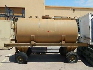 Horizontal Aluminum Water Tank On Trailer Approx 900 Gal Cap