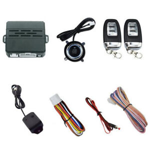 Car Alarm Ignition Start Security System Engine Start Push Button Remote Key Kit