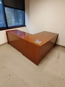 48 Wide Wooden L shaped Desk With 5 Drawers Used Pick Up Only
