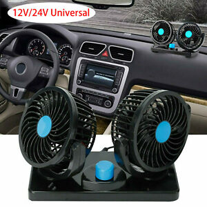 12v 24v Usb Dual Head Car Fan Portable Vehicle Truck 360 Rotatable Auto Cooling