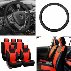 Pu Leather Racing Car Seat Covers Tangerine Black W Steering Wheel Cover Set