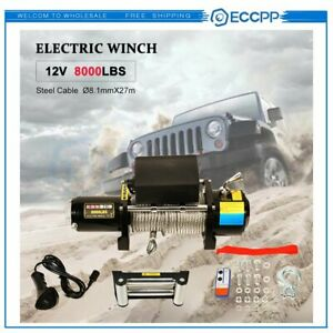 Eccpp 8000lbs Steel Rope Off Road 4wd 12v 3600kgs Electric Winch Towing Truck