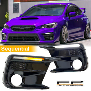 For 18 20 Subaru Wrx Sti White Amber Sequential Switchback Led Drl Fog Bezels