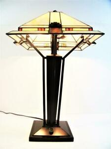 Genuine Stiffel Tiffany Style Stained Glass Desk Lamp In Excellent Condition