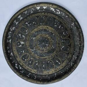 A F Indian Deccan Bidri Silver Brass Inlay Dish 18th Century