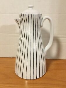 VINTAGE MID CENTURY RAYMOR ITALY POTTERY Coffee Carafe Pot Black White Stripe