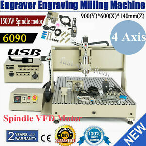 Usb 4 Axis 1 5kw Cnc 6090 Router Engraving Machine Wood Metal Steel Mill cutting