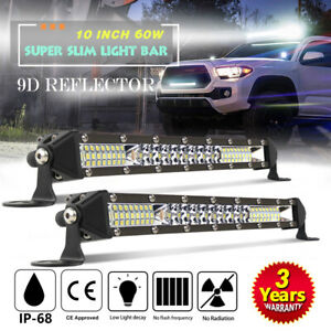 2x 10 Inch Cree Led Work Light Bar 60w Flood Spot Combo Offroad Fog Driving Atv