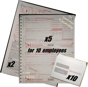 2020 Irs Tax Forms Kit W 2 Wage Stmts Carbonless 10 Employees envelopes 2 w 3