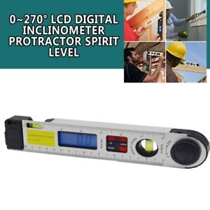 Lcd Digital Inclinometer Protractor Spirit Level Angle Finder Gauge Meter 0 270
