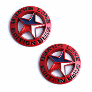 Two Red Lone Star Silver Edition Texas Emblems Universal Stick On Truck Badge