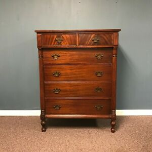 Tall Narrow Antique Mahogany Dresser 2 Over 4 Drawers