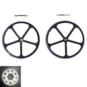 29 700c Aluminum Mag Wheels Rims Set With Disc Brake Rotor Adapter 28t Sprocket