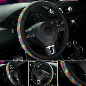 38cm Leather Car Steering Wheel Cover Colorful Breathable Non slip Universal Set