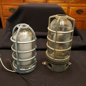 2 New Used Old Style Industrial Explosion Proof Cage Lights